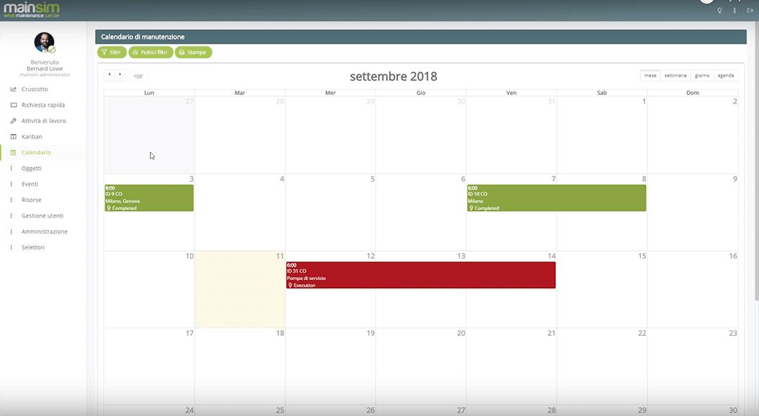 calendario gestione interventi mainsim