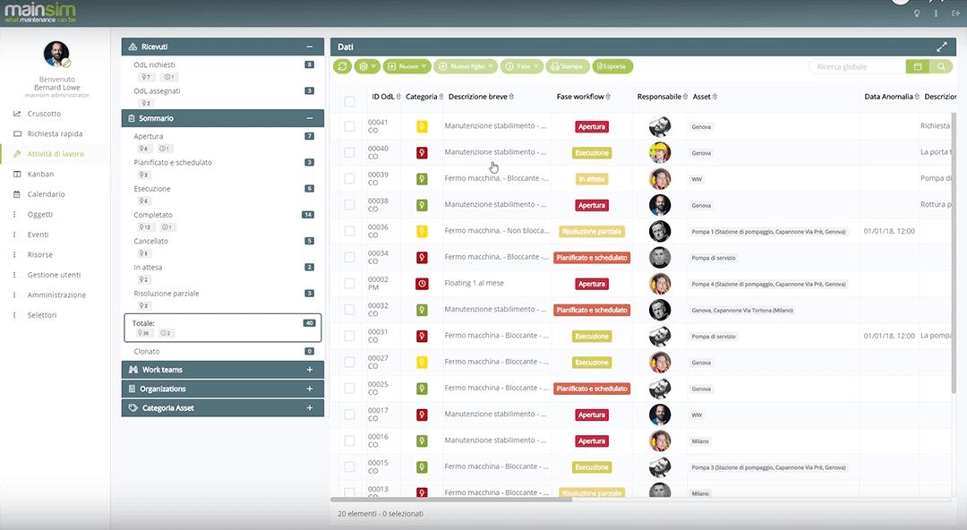 gestione ordini di lavoro mainsim software